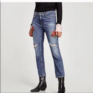 NWT Zara Basic Straight Leg Sequin Patch Jeans